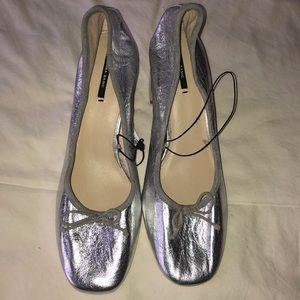 Zara Silver block heels